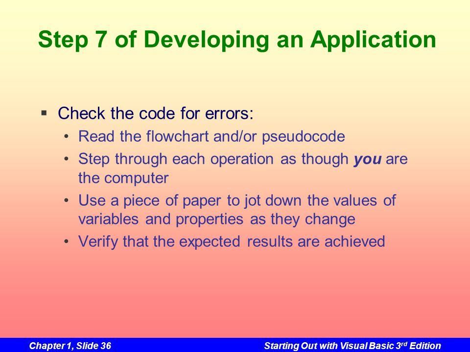 Chapter 1, Slide 36Starting Out with Visual Basic 3 rd Edition Step 7 of Developing an Application Check the code for errors: Read the flowchart and/o
