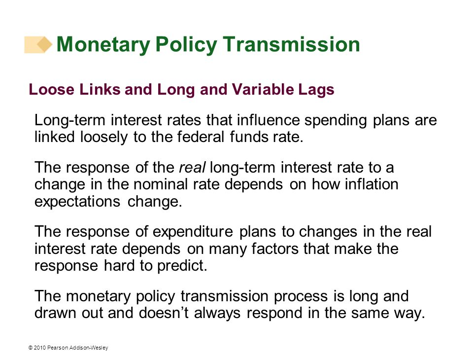 © 2010 Pearson Addison-Wesley Loose Links and Long and Variable Lags Long-term interest rates that influence spending plans are linked loosely to the federal funds rate.