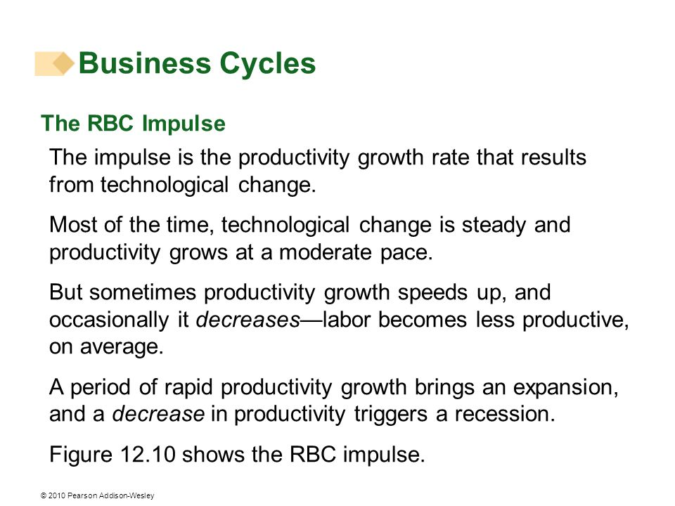 © 2010 Pearson Addison-Wesley The RBC Impulse The impulse is the productivity growth rate that results from technological change. Most of the time, te