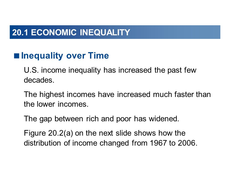 20.1 ECONOMIC INEQUALITY Inequality over Time U.S. income inequality has increased the past few decades. The highest incomes have increased much faste