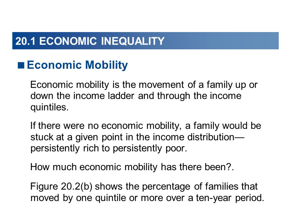 20.1 ECONOMIC INEQUALITY Economic Mobility Economic mobility is the movement of a family up or down the income ladder and through the income quintiles