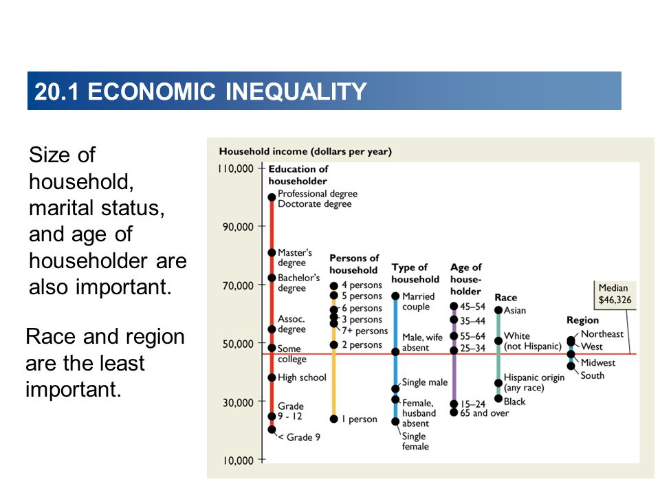 20.1 ECONOMIC INEQUALITY Size of household, marital status, and age of householder are also important. Race and region are the least important.