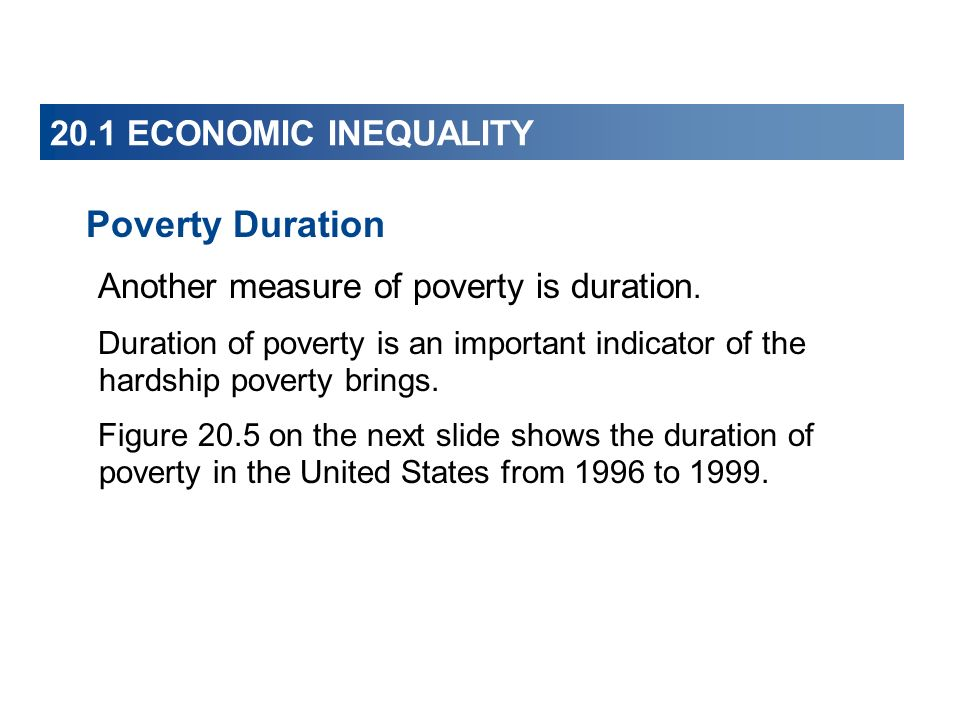 20.1 ECONOMIC INEQUALITY Poverty Duration Another measure of poverty is duration. Duration of poverty is an important indicator of the hardship povert