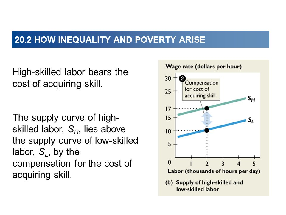 20.2 HOW INEQUALITY AND POVERTY ARISE High-skilled labor bears the cost of acquiring skill. The supply curve of high- skilled labor, S H, lies above t