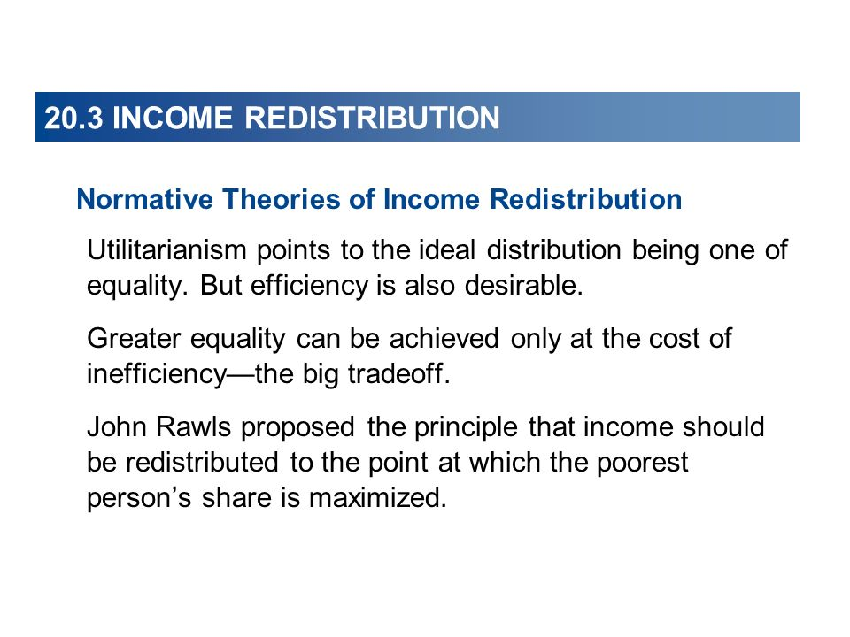 20.3 INCOME REDISTRIBUTION Normative Theories of Income Redistribution Utilitarianism points to the ideal distribution being one of equality. But effi