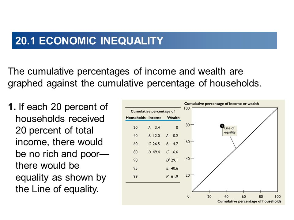 20.1 ECONOMIC INEQUALITY The cumulative percentages of income and wealth are graphed against the cumulative percentage of households. 1. If each 20 pe