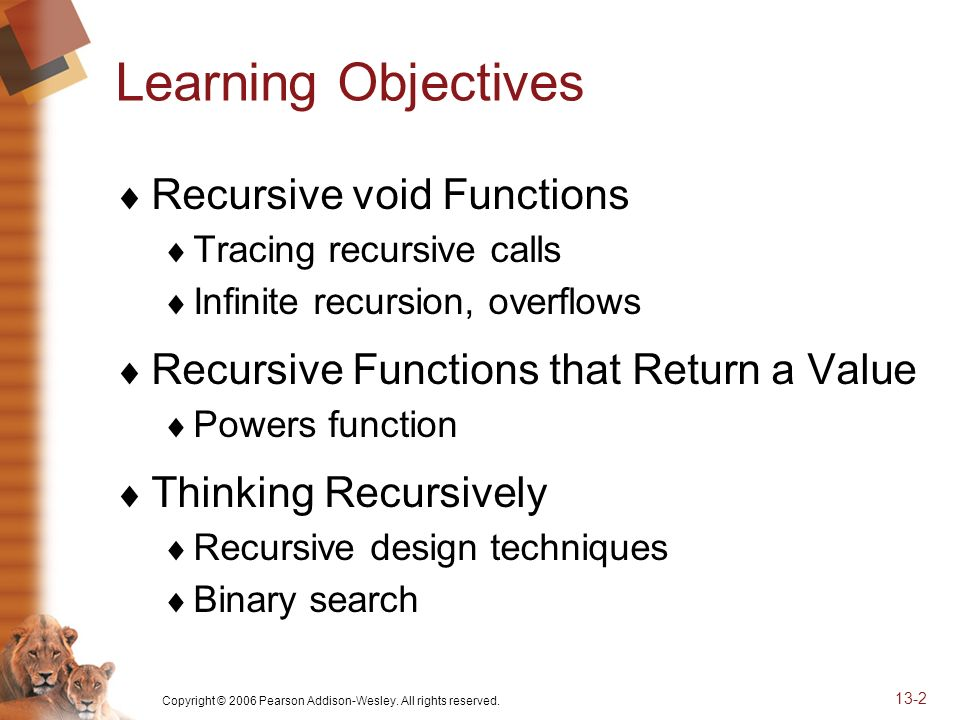Copyright © 2006 Pearson Addison-Wesley. All rights reserved. 13-2 Learning Objectives Recursive void Functions Tracing recursive calls Infinite recur