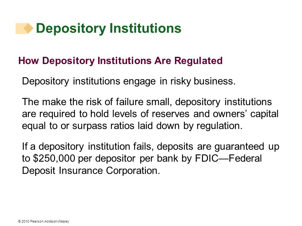 © 2010 Pearson Addison-Wesley How Depository Institutions Are Regulated Depository institutions engage in risky business. The make the risk of failure