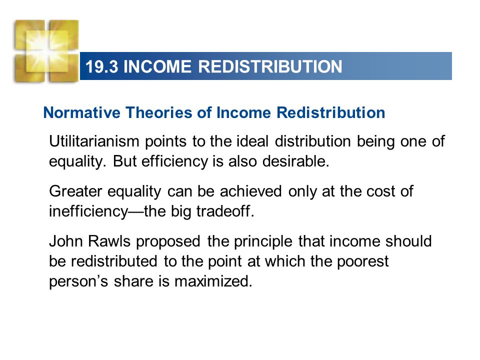 19.3 INCOME REDISTRIBUTION Normative Theories of Income Redistribution Utilitarianism points to the ideal distribution being one of equality. But effi