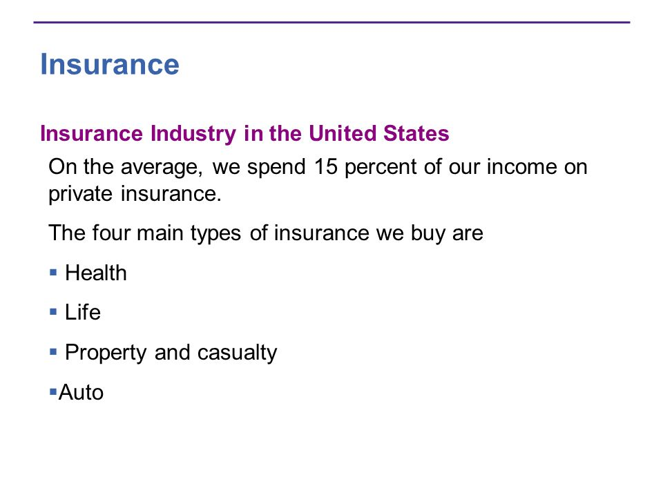 Insurance Insurance Industry in the United States On the average, we spend 15 percent of our income on private insurance.