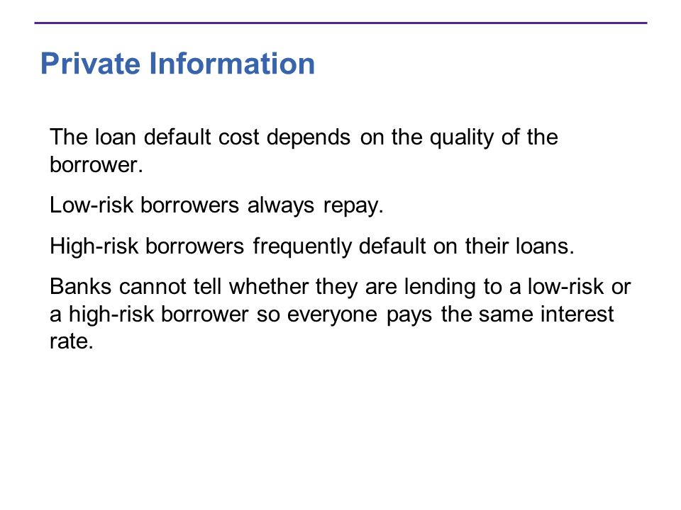 Private Information The loan default cost depends on the quality of the borrower.