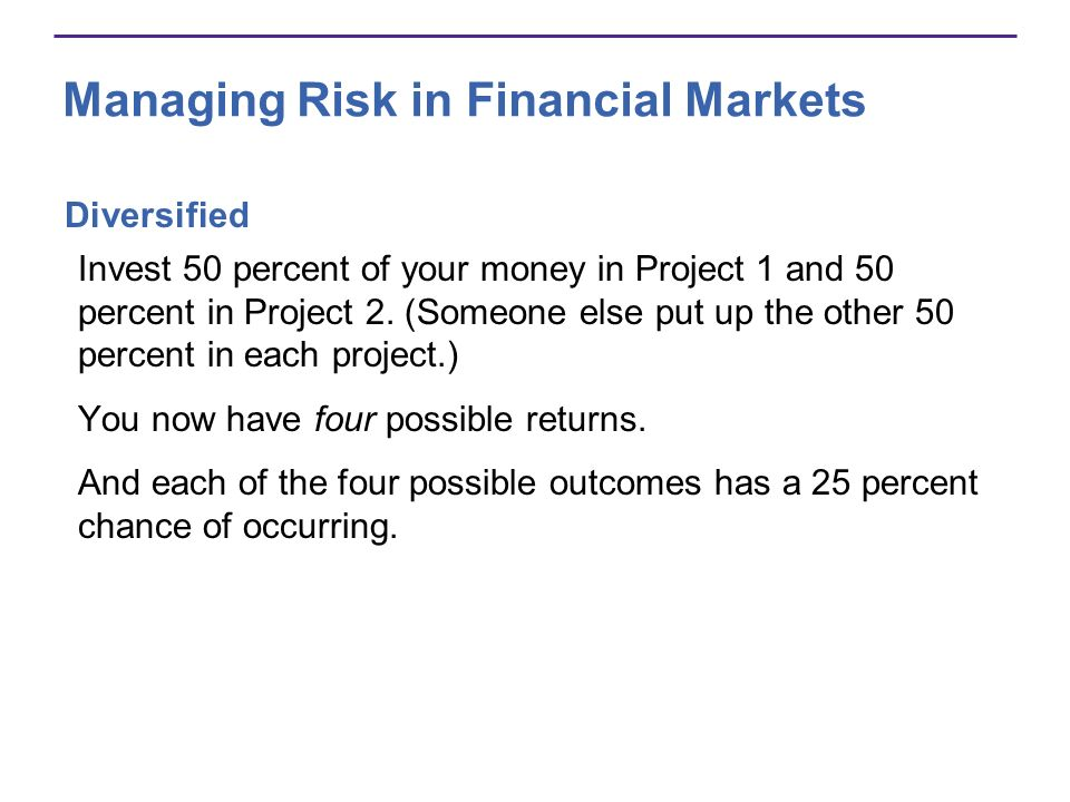 Managing Risk in Financial Markets Diversified Invest 50 percent of your money in Project 1 and 50 percent in Project 2.