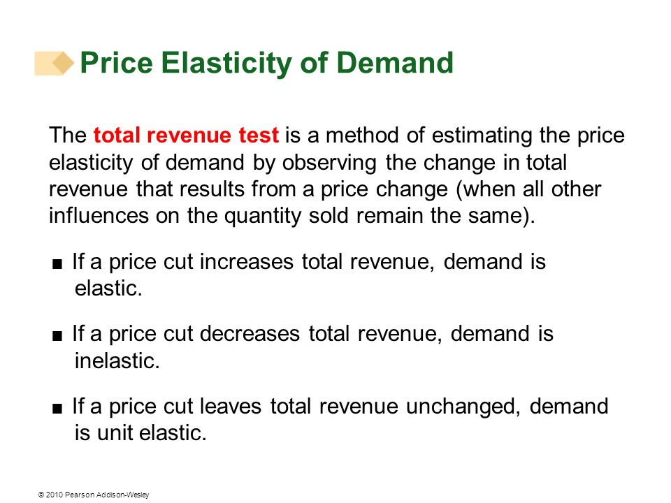 © 2010 Pearson Addison-Wesley The total revenue test is a method of estimating the price elasticity of demand by observing the change in total revenue that results from a price change (when all other influences on the quantity sold remain the same).