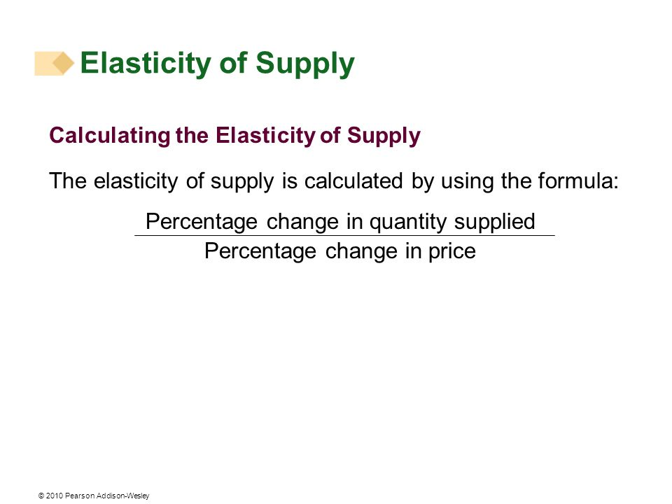 © 2010 Pearson Addison-Wesley Calculating the Elasticity of Supply The elasticity of supply is calculated by using the formula: Percentage change in quantity supplied Percentage change in price Elasticity of Supply
