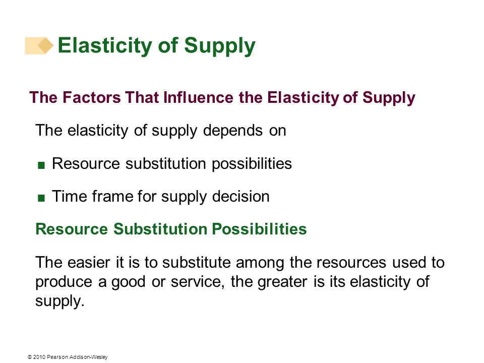 © 2010 Pearson Addison-Wesley The Factors That Influence the Elasticity of Supply The elasticity of supply depends on Resource substitution possibilities Time frame for supply decision Resource Substitution Possibilities The easier it is to substitute among the resources used to produce a good or service, the greater is its elasticity of supply.