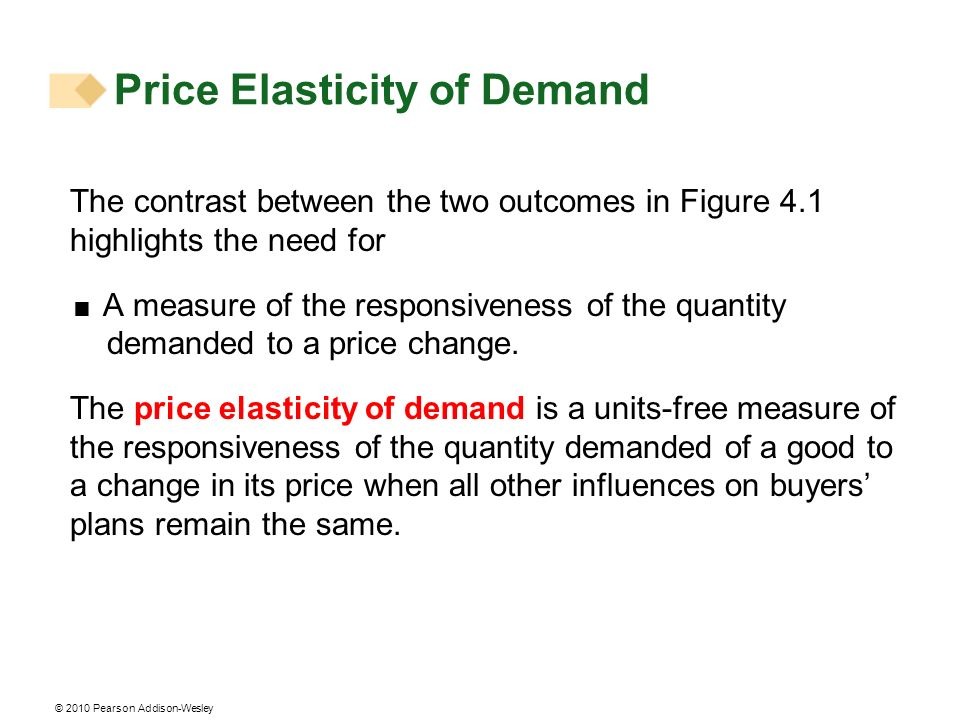 © 2010 Pearson Addison-Wesley The contrast between the two outcomes in Figure 4.1 highlights the need for A measure of the responsiveness of the quantity demanded to a price change.