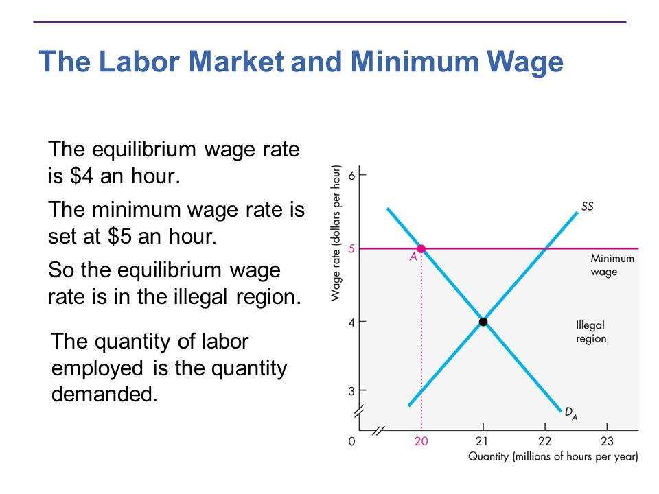 The Labor Market and Minimum Wage The equilibrium wage rate is $4 an hour.