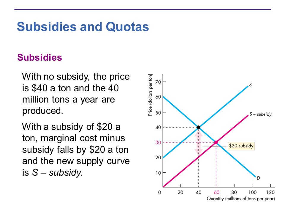 Subsidies and Quotas Subsidies With no subsidy, the price is $40 a ton and the 40 million tons a year are produced.