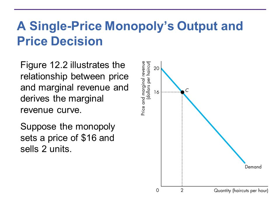 A Single-Price Monopolys Output and Price Decision Figure 12.2 illustrates the relationship between price and marginal revenue and derives the margina