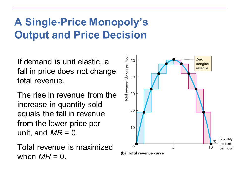 A Single-Price Monopolys Output and Price Decision If demand is unit elastic, a fall in price does not change total revenue.