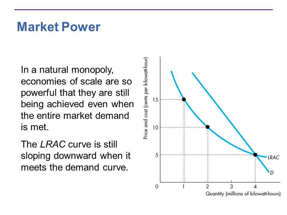 Market Power In a natural monopoly, economies of scale are so powerful that they are still being achieved even when the entire market demand is met. T