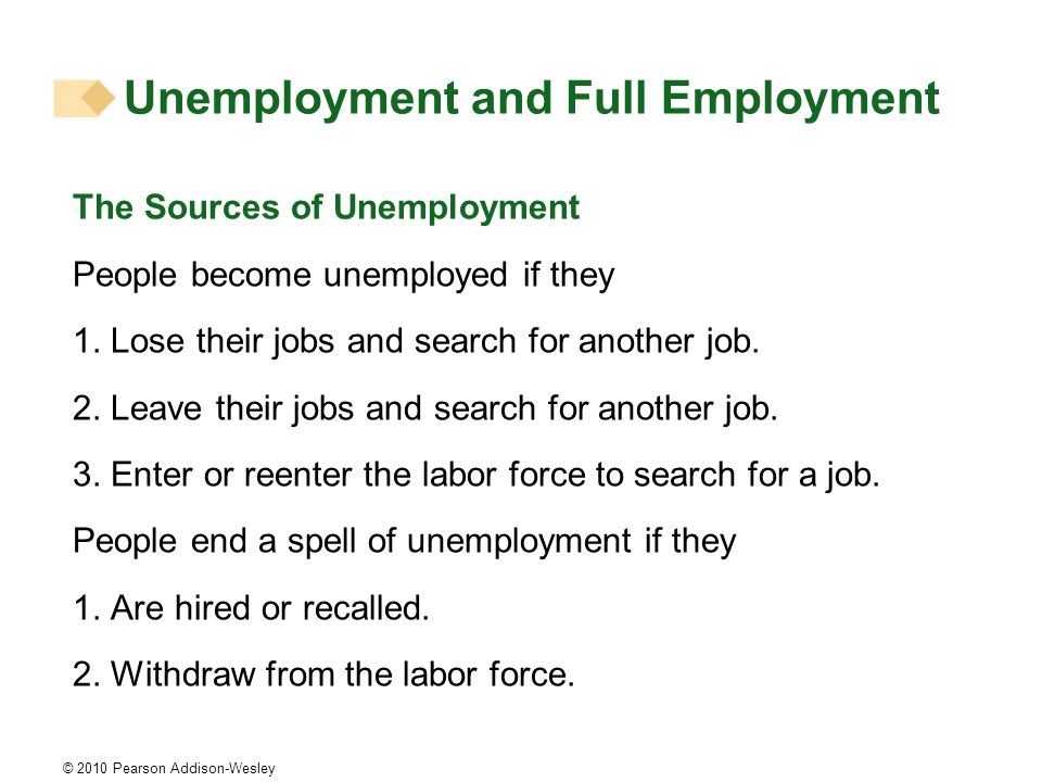 © 2010 Pearson Addison-Wesley The Sources of Unemployment People become unemployed if they 1. Lose their jobs and search for another job. 2. Leave the
