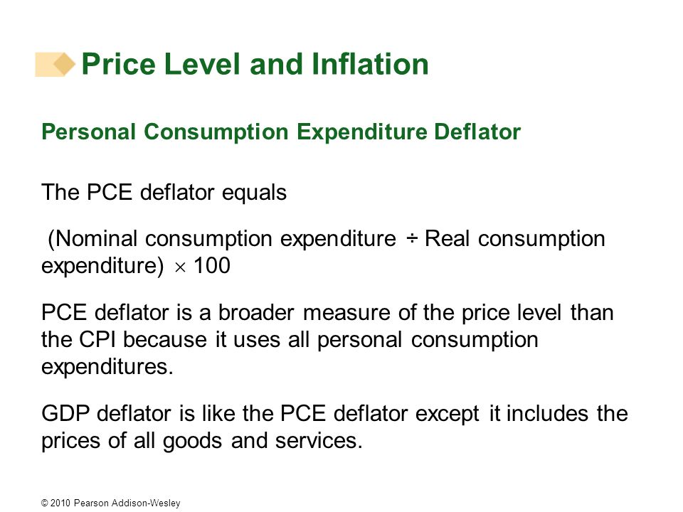 © 2010 Pearson Addison-Wesley Price Level and Inflation Personal Consumption Expenditure Deflator The PCE deflator equals (Nominal consumption expendi