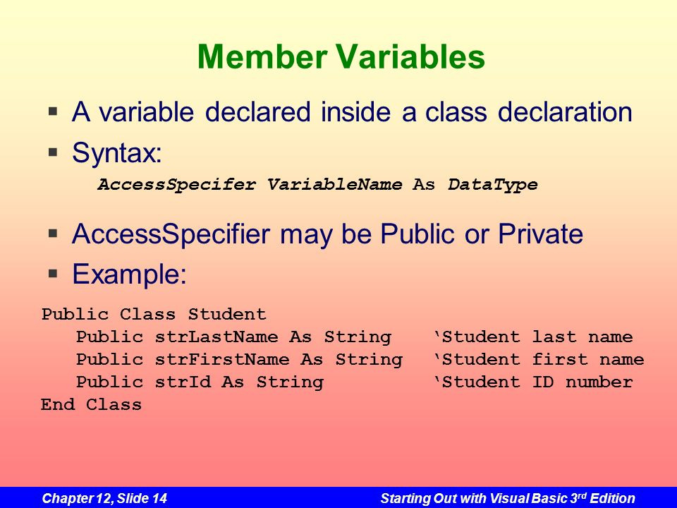 Chapter 12, Slide 14Starting Out with Visual Basic 3 rd Edition Member Variables A variable declared inside a class declaration Syntax: AccessSpecifie