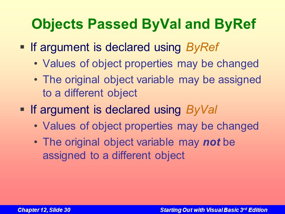 Chapter 12, Slide 30Starting Out with Visual Basic 3 rd Edition Objects Passed ByVal and ByRef If argument is declared using ByRef Values of object pr