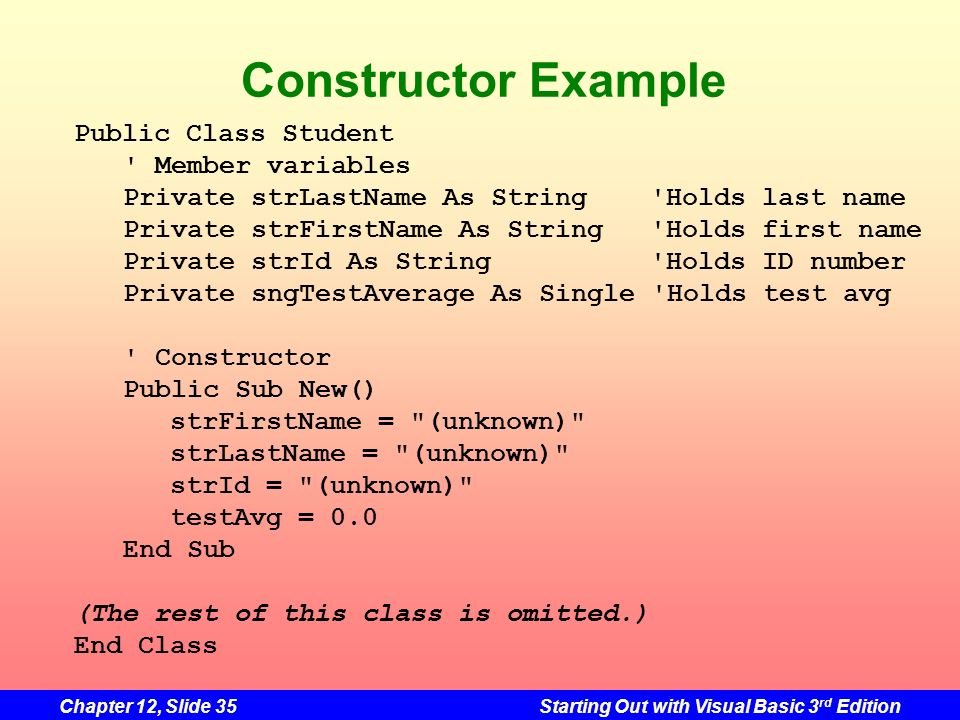 Chapter 12, Slide 35Starting Out with Visual Basic 3 rd Edition Constructor Example Public Class Student ' Member variables Private strLastName As Str