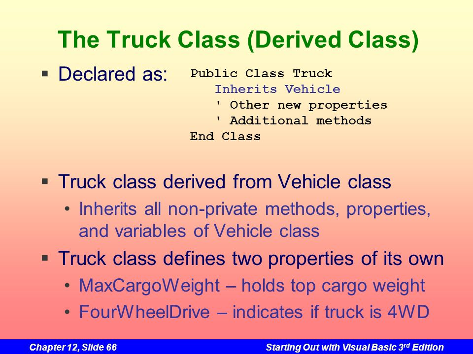 Chapter 12, Slide 66Starting Out with Visual Basic 3 rd Edition The Truck Class (Derived Class) Declared as: Truck class derived from Vehicle class In