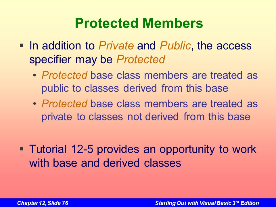 Chapter 12, Slide 76Starting Out with Visual Basic 3 rd Edition Protected Members In addition to Private and Public, the access specifier may be Prote