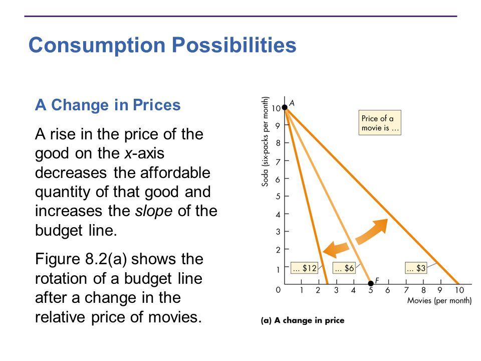 Consumption Possibilities A Change in Prices A rise in the price of the good on the x-axis decreases the affordable quantity of that good and increase