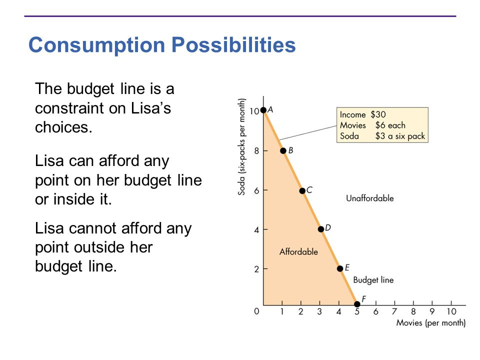 Consumption Possibilities The budget line is a constraint on Lisas choices. Lisa can afford any point on her budget line or inside it. Lisa cannot aff