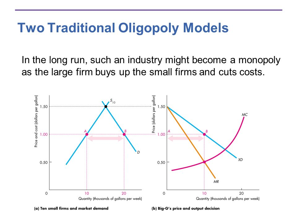 Two Traditional Oligopoly Models In the long run, such an industry might become a monopoly as the large firm buys up the small firms and cuts costs.
