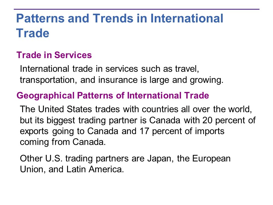 Patterns and Trends in International Trade Trade in Services International trade in services such as travel, transportation, and insurance is large an
