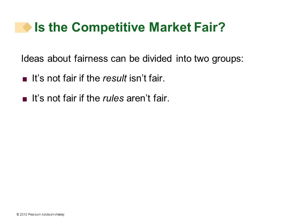 © 2010 Pearson Addison-Wesley Is the Competitive Market Fair? Ideas about fairness can be divided into two groups: Its not fair if the result isnt fai