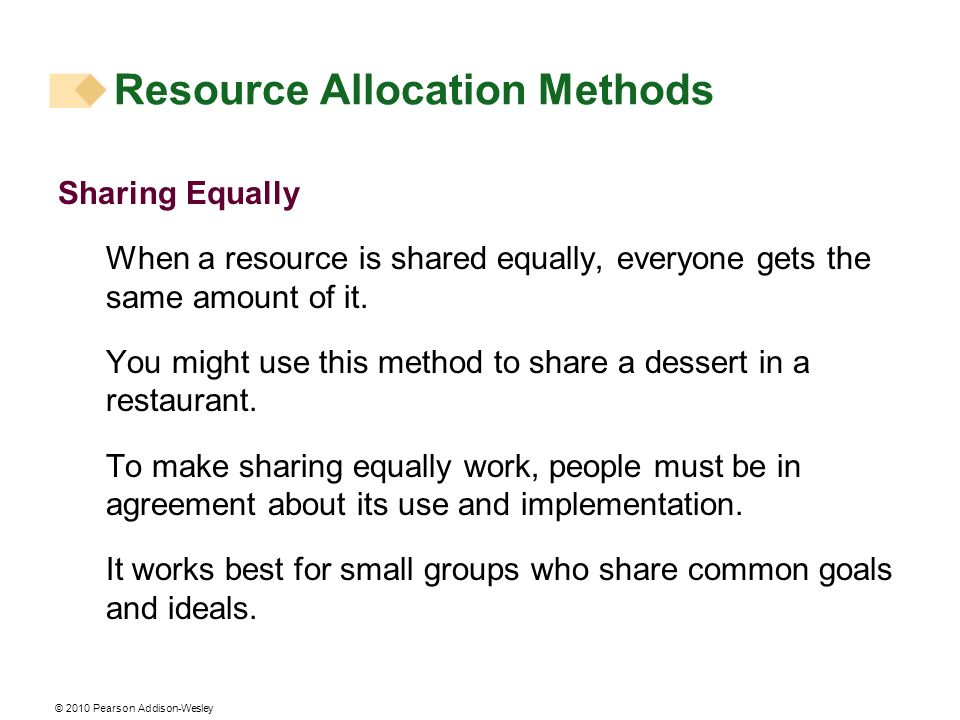 © 2010 Pearson Addison-Wesley Sharing Equally When a resource is shared equally, everyone gets the same amount of it. You might use this method to sha