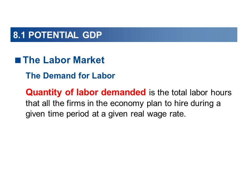 8.1 POTENTIAL GDP The Labor Market The Demand for Labor Quantity of labor demanded is the total labor hours that all the firms in the economy plan to