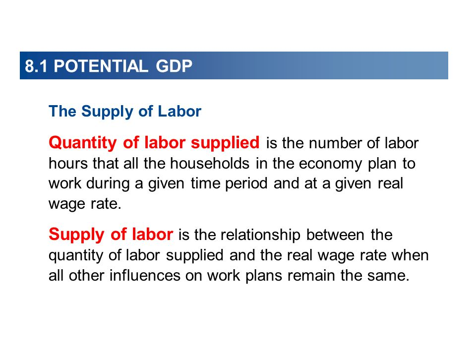 8.1 POTENTIAL GDP The Supply of Labor Quantity of labor supplied is the number of labor hours that all the households in the economy plan to work duri