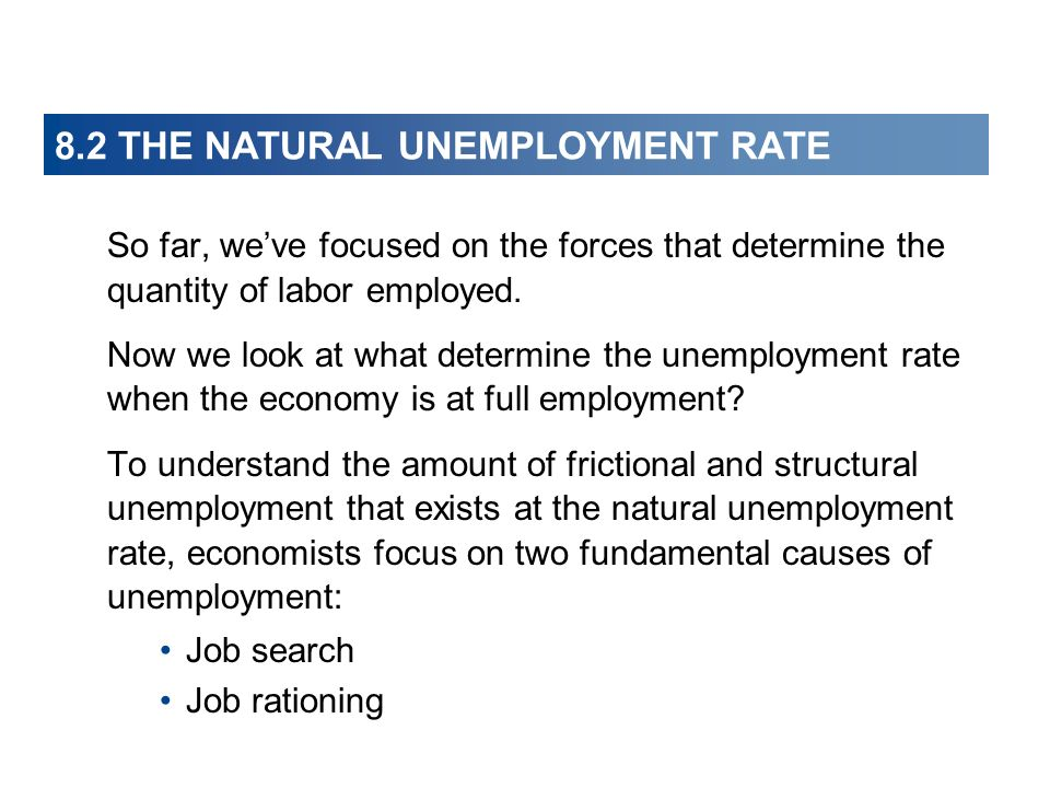 8.2 THE NATURAL UNEMPLOYMENT RATE So far, weve focused on the forces that determine the quantity of labor employed. Now we look at what determine the