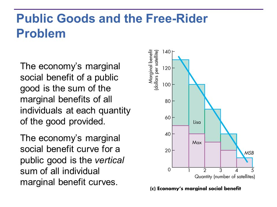 Public Goods and the Free-Rider Problem The economys marginal social benefit of a public good is the sum of the marginal benefits of all individuals a