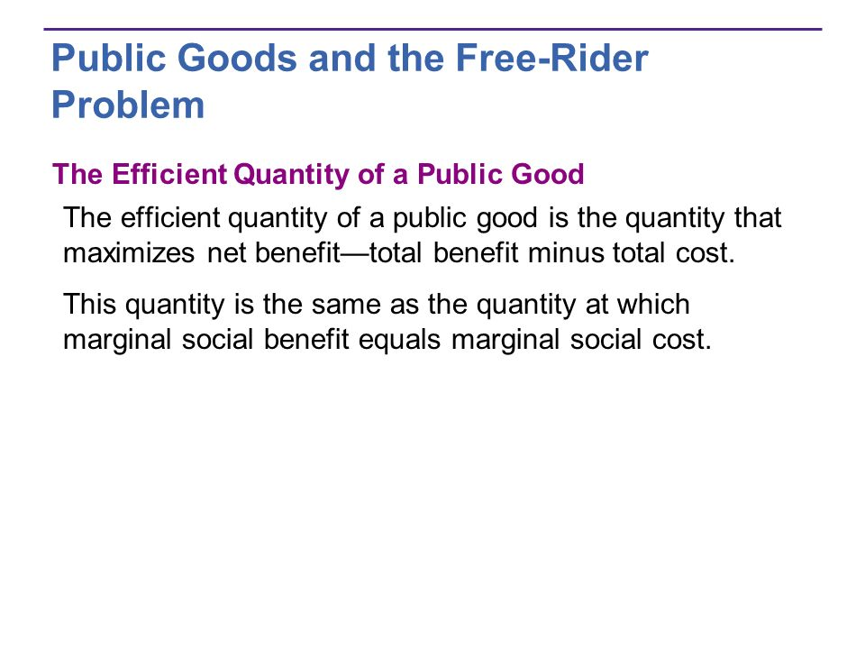 Public Goods and the Free-Rider Problem The Efficient Quantity of a Public Good The efficient quantity of a public good is the quantity that maximizes