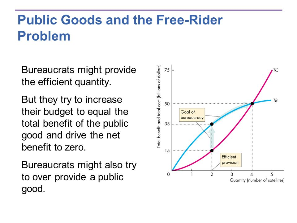 Public Goods and the Free-Rider Problem Bureaucrats might provide the efficient quantity. But they try to increase their budget to equal the total ben