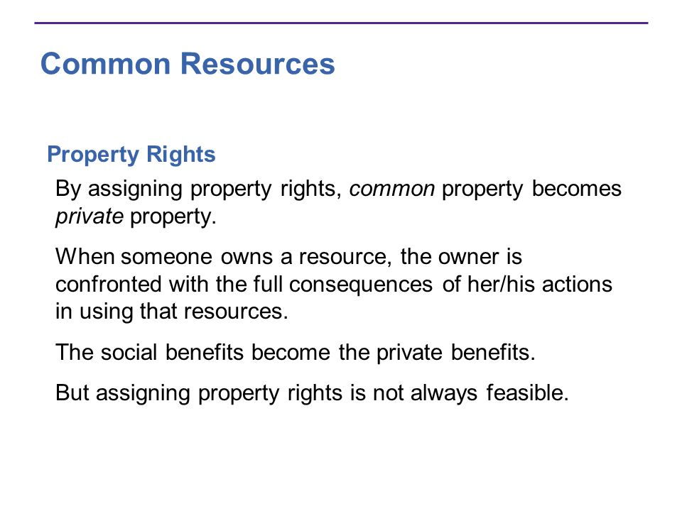 Common Resources Property Rights By assigning property rights, common property becomes private property. When someone owns a resource, the owner is co