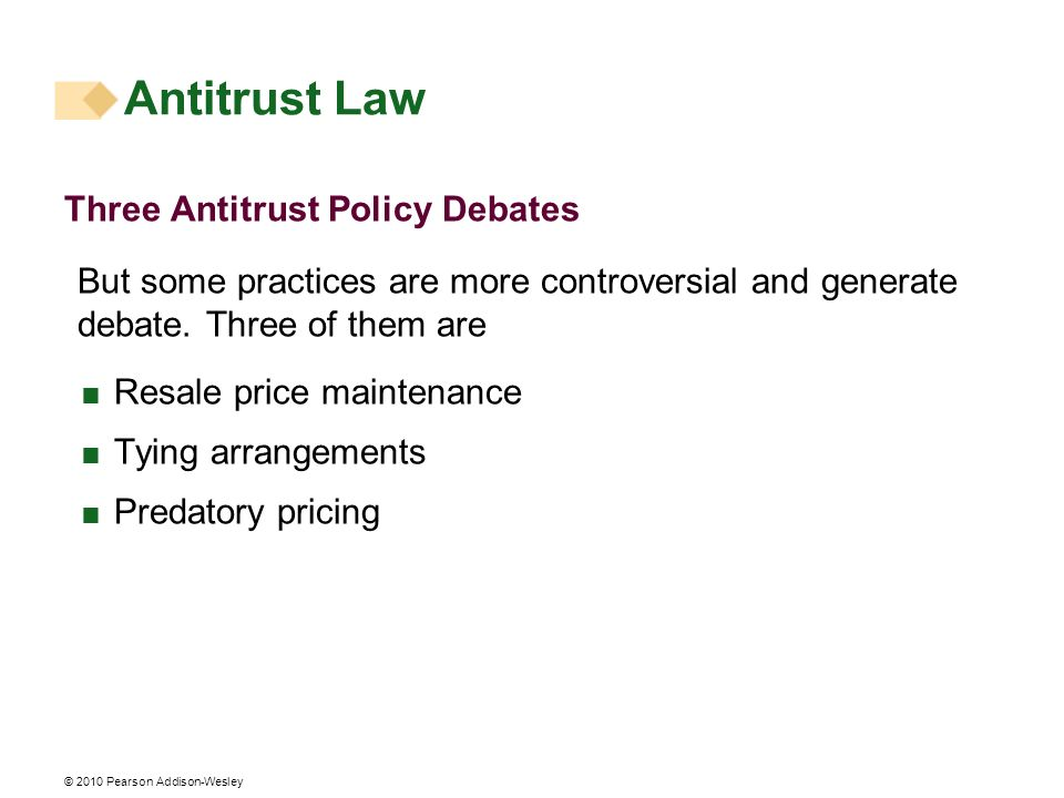 © 2010 Pearson Addison-Wesley Three Antitrust Policy Debates But some practices are more controversial and generate debate. Three of them are Resale p