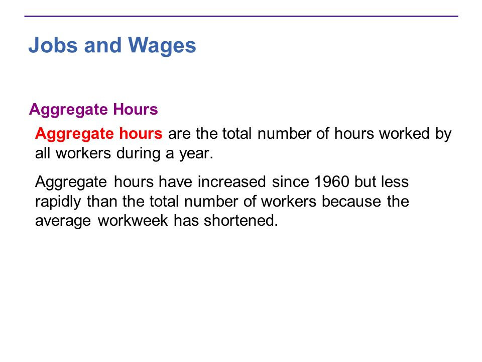 Jobs and Wages Aggregate Hours Aggregate hours are the total number of hours worked by all workers during a year. Aggregate hours have increased since