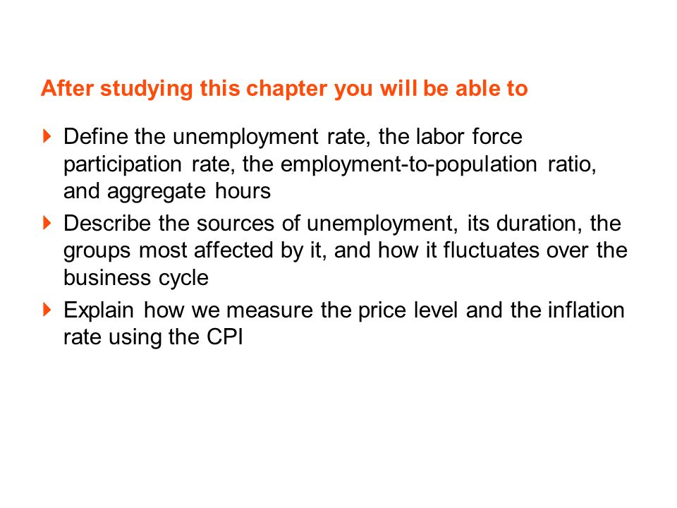 After studying this chapter you will be able to Define the unemployment rate, the labor force participation rate, the employment-to-population ratio,