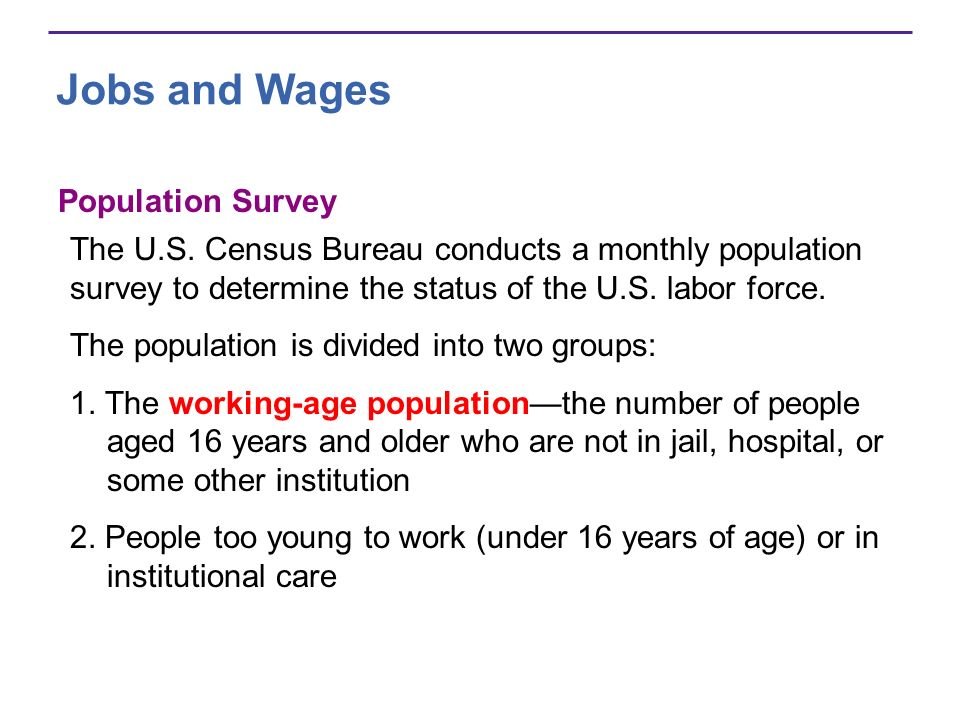 Jobs and Wages Population Survey The U.S. Census Bureau conducts a monthly population survey to determine the status of the U.S. labor force. The popu