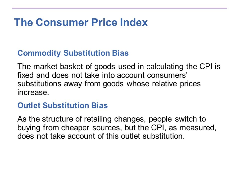 The Consumer Price Index Commodity Substitution Bias The market basket of goods used in calculating the CPI is fixed and does not take into account co